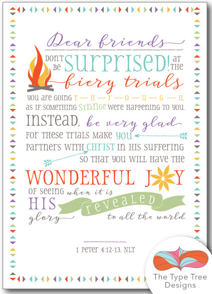 free scripture printable, 1 Peter 4:12-13, scripture art, graphic design, typography quote