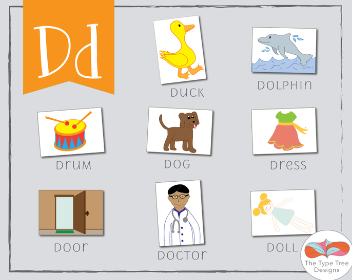 preschool d words vocabulary flashcards english