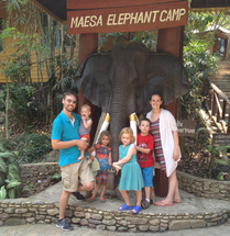 family picture, maesa elephant camp, thailand
