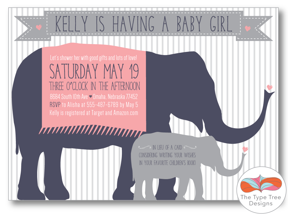 elephant baby shower invitation girl