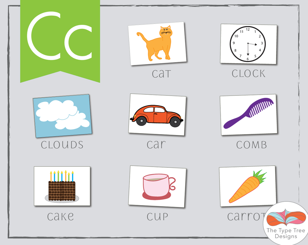 words that start with the letter c, c flashcards, clipart