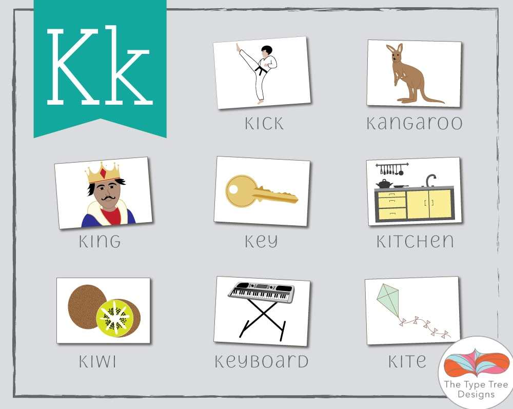 Letter K preschool Flashcards, ESL