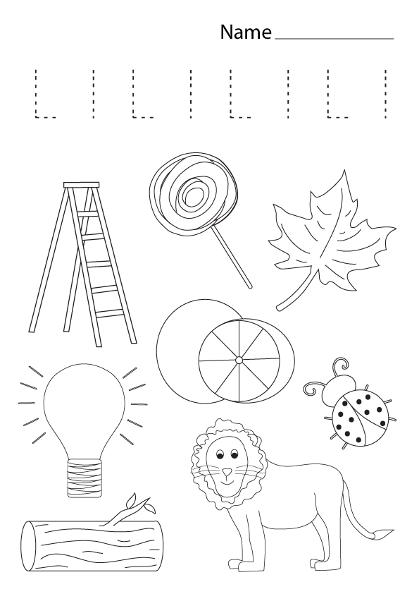 letter l coloring worksheet, free kindergarten worksheet